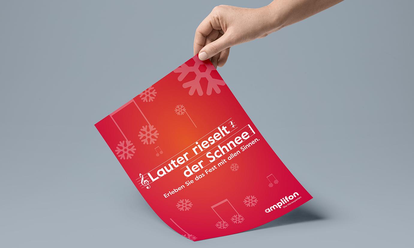 amplifon Weihnachtskampagne Plakat PoS - ZENKER DESIGN